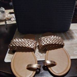 Forever21 gold and tan sandals